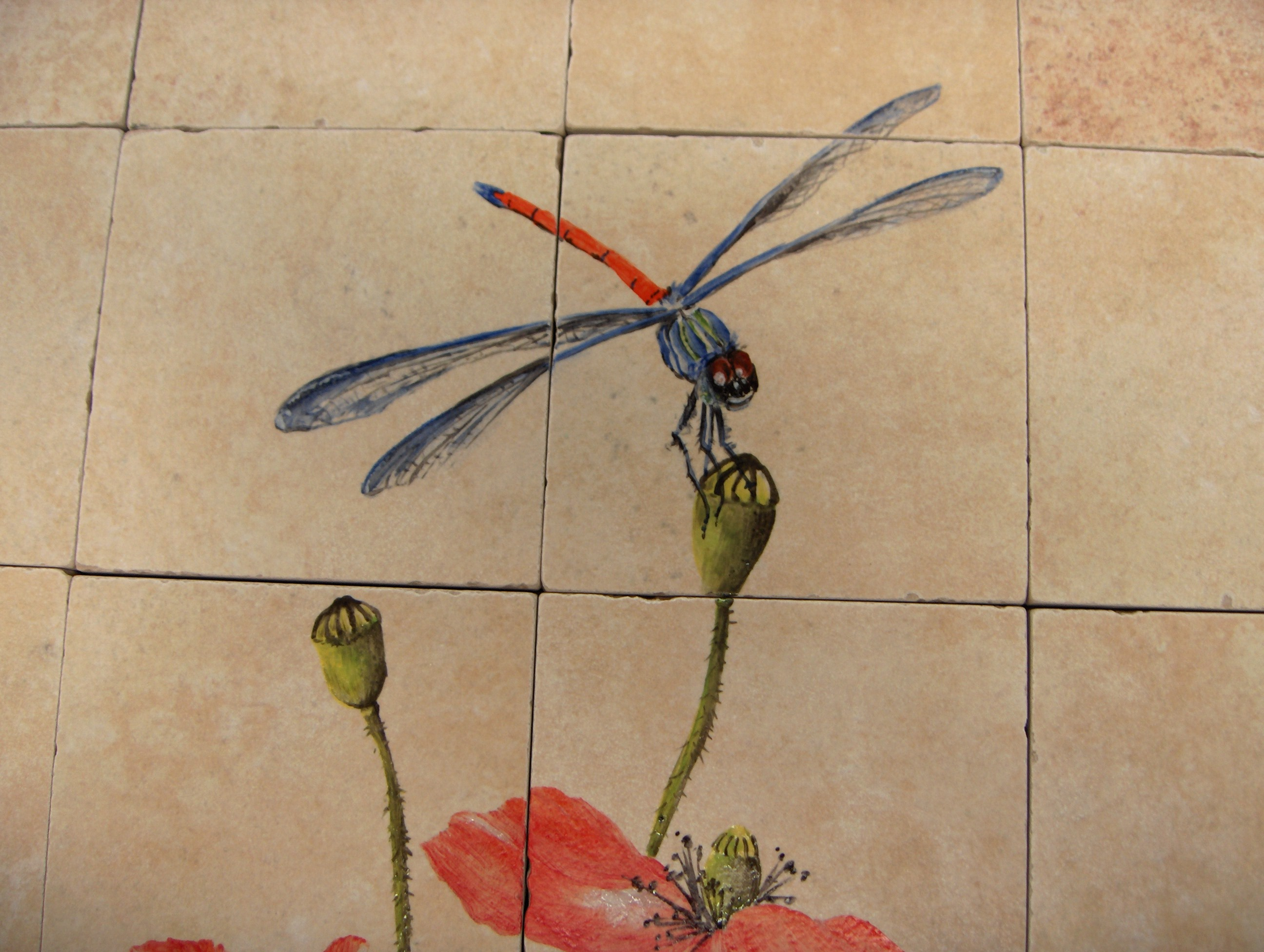 Maryline garbe hand painted tiles for kitchen and bathroom for Dragonfly mural